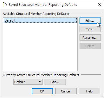 Saved Structural Member Reporting Defaults dialog with Default selected