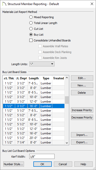 Structural Member Reporting - Default dialog showing Mixed Reporting, Total Linear Length, Cut List and Buy List options