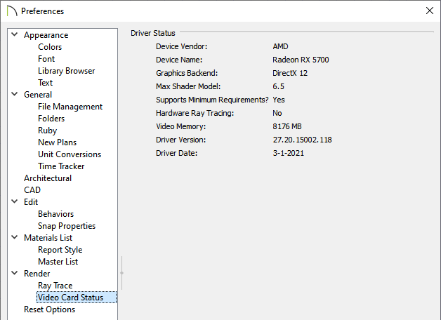 Video Card Status panel of the Preferences dialog