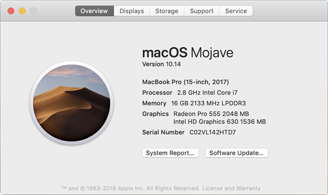 About This Mac dialog showing Software Update button