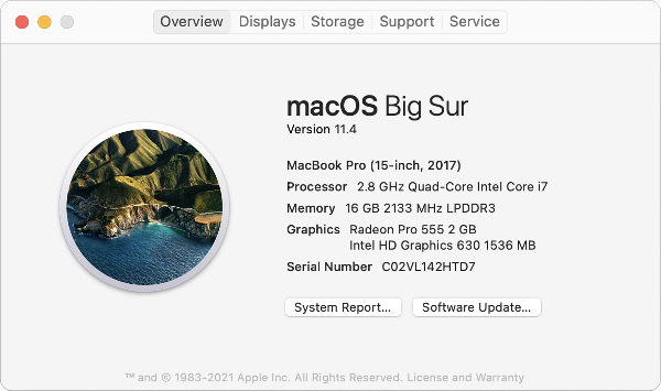 About This Mac section of a MacBook Pro