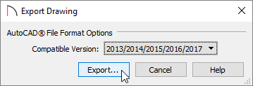Export Drawing dialog where the comaptible AutoCAD version can be specified