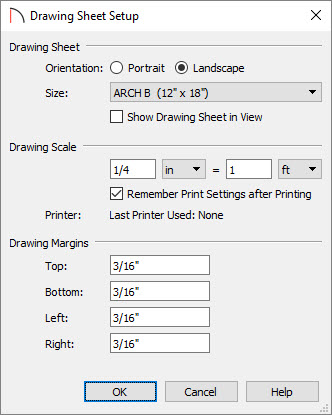 Drawing Sheet Setup dialog where a scale can be specified