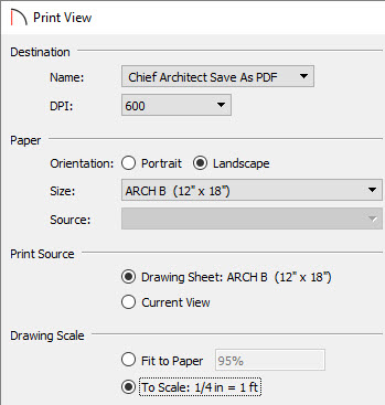 Select the To Scale option under Drawing Scale in the Print View dialog