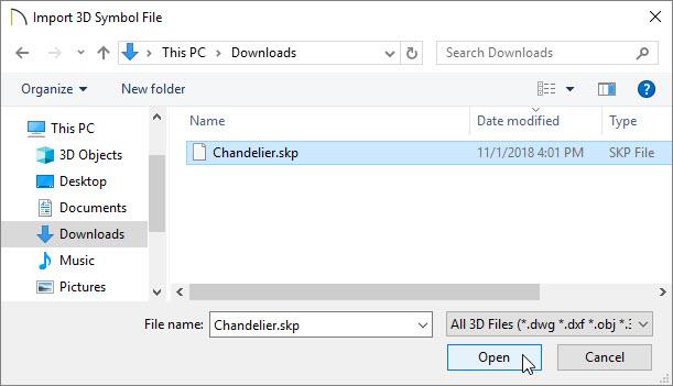 Import 3D Symbol File dialog with Chandelier.skp selected