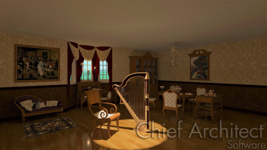 Sitting Room with harp, chandelier, and furniture