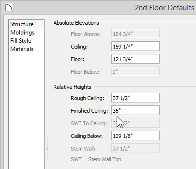 """Finished Ceiling value of 36"""" entered for 2nd Floor Defaults"""