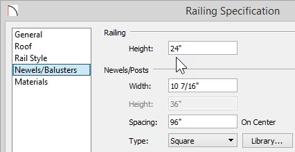 """Newels/Balusters panel of Railing Specification with 24"""" entered for Railing Height"""