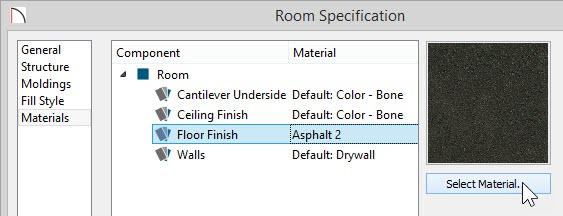 Materials Panel of Room Specification with Asphalt 2 selected for the Floor Finish material