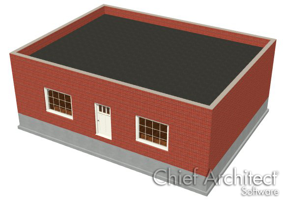 Camera view of brick building with a parapet flat roof