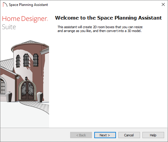 Welcome screen of the Space Planning Assistant