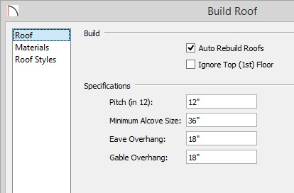 Build Roof Dialog with 12 in 12 set for the Pitch