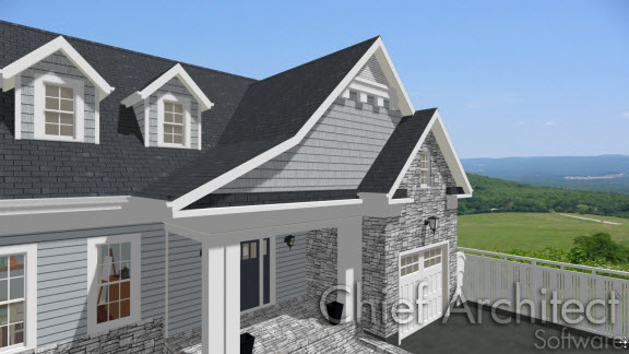 Camera view of house with two different roof pitches