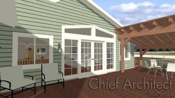 Camera view of back porch showing double French Doors leading from the house to the porch
