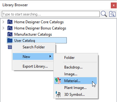 Create a New Material by right-clicking on the User Catalog