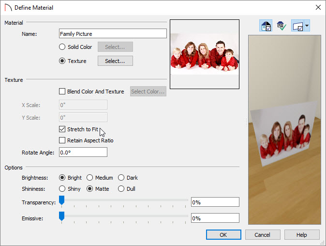 Define Material dialog displaying the custom picture