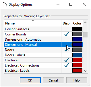 Display Options where dimensions can be set not to display