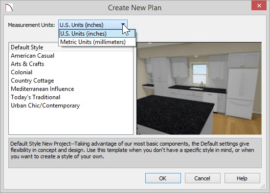 Create New Plan dialog showing drop-down list for Measurement Units which include U.S. Units (inches) and Metric Units (millimeters) and a list of templates below