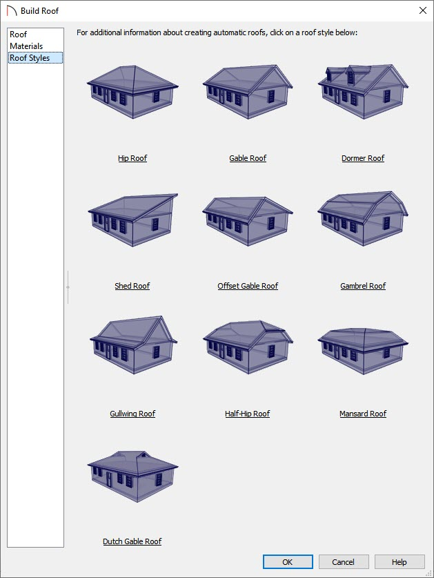 You can click on the different roof styles to learn how to build them.