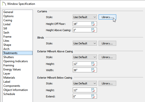 Treatments panel of the Window Specification dialog