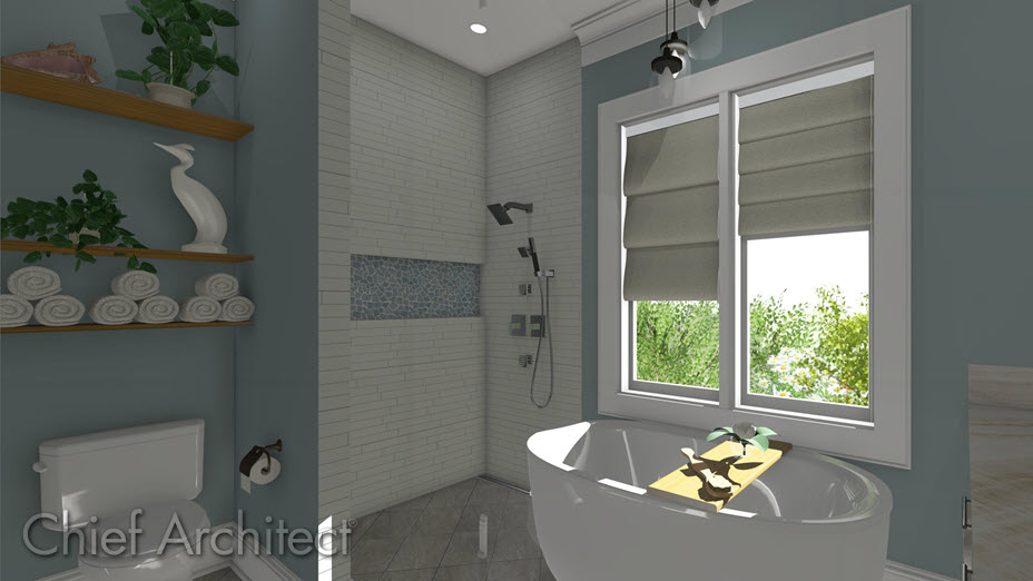 Roman blinds on windows in a bathroom