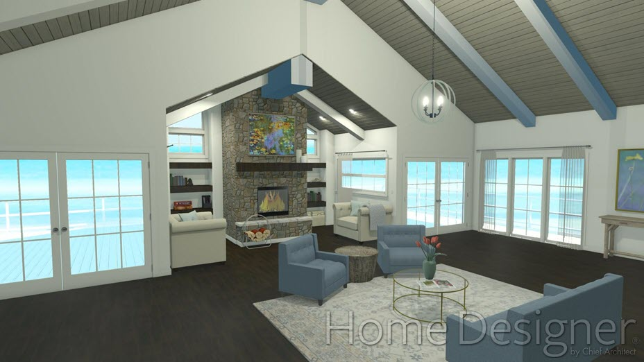 Open living area with a cathedral ceiling