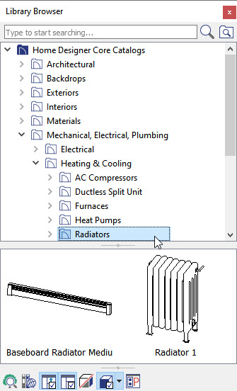 Using the Library Browser to find a Radiator