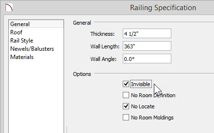 Railing Specification with Invisible selected