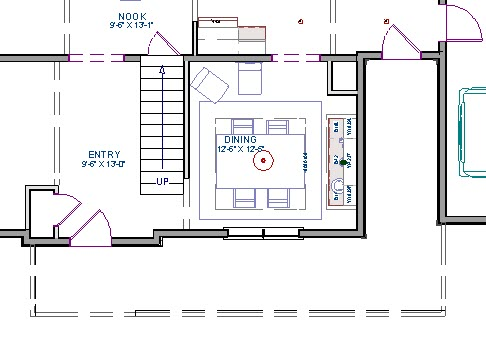 Floor plan view showing porch room created with invisible walls