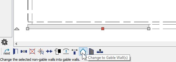 Floor plan view with wall section selected showing Change to Gable Wall button on Edit Toolbar