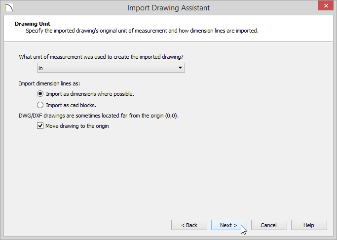 Drawing Unit - Move drawing to the origin selected