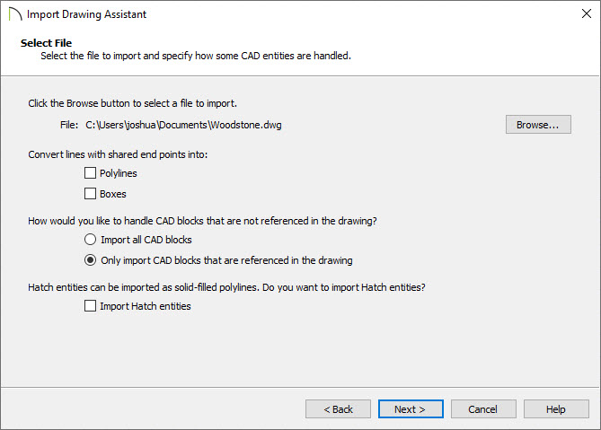 Select File portion of the Import Drawing Assistant