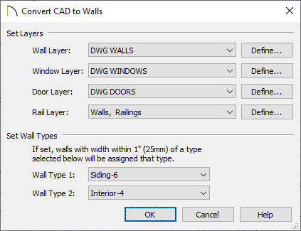 Convert CAD to Walls dialog with the wall, window, door and rail layers selected as well as two wall types