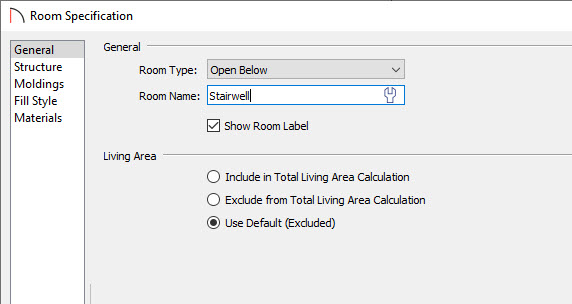 Room Specification Dialog