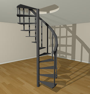 Sprial stairs going to the second floor