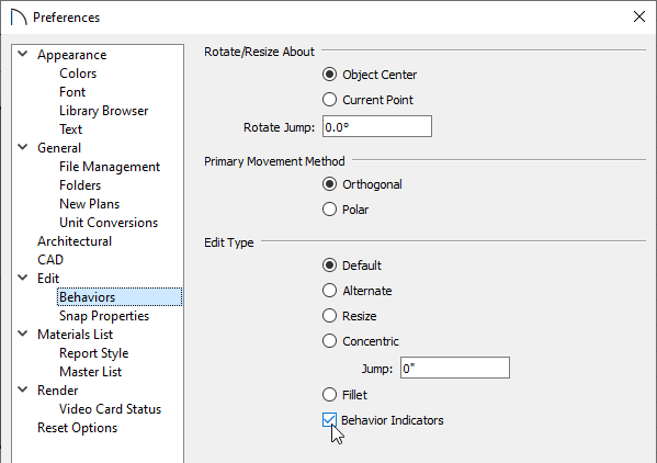 Check or uncheck the Behavior Indicators box on the Behaviors panel of the Preferences dialog