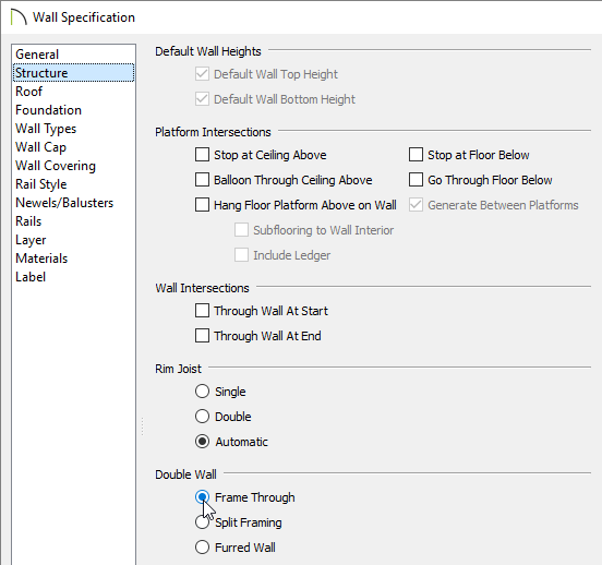 Frame Through option specified on the Structure panel of the Wall Specification dialog