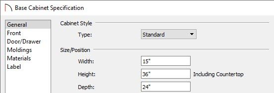 Change the cabinet size in the specification dialog box.
