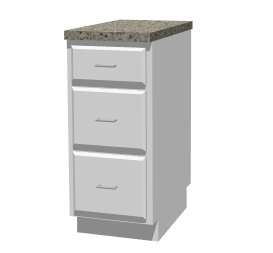 Base cabinet with three drawers