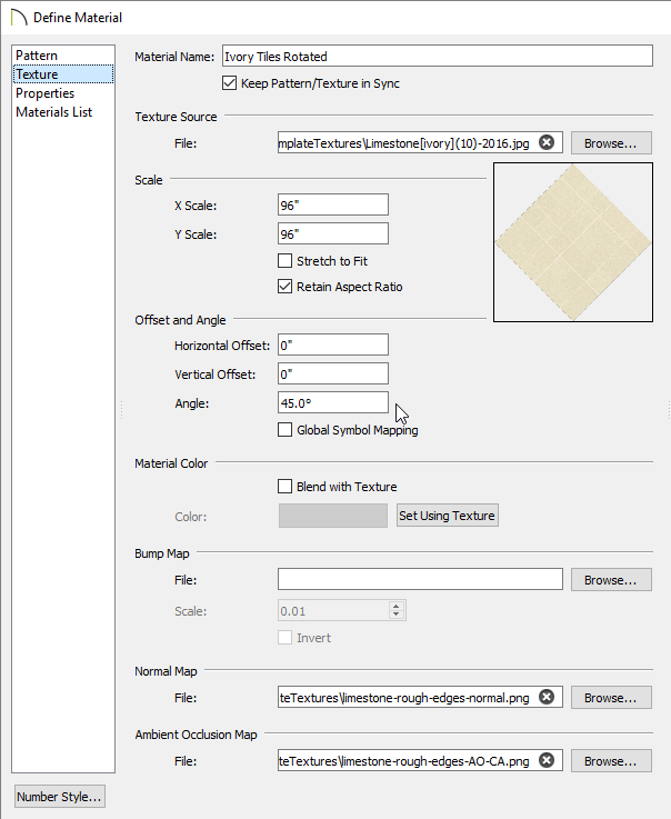 Texture panel on the Define Material dialog
