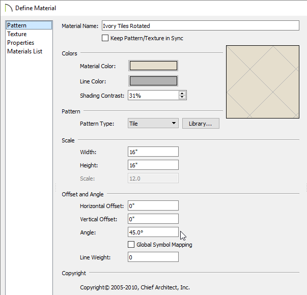 Pattern panel of the Define Material dialog