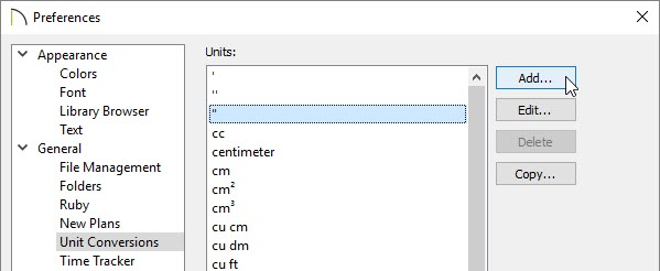 Preferences dialog opened to the Unit Conversions panel.