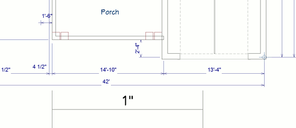 A floor plan view of an imported drawing that shows the drawing is not at a 1 to 1 scale.