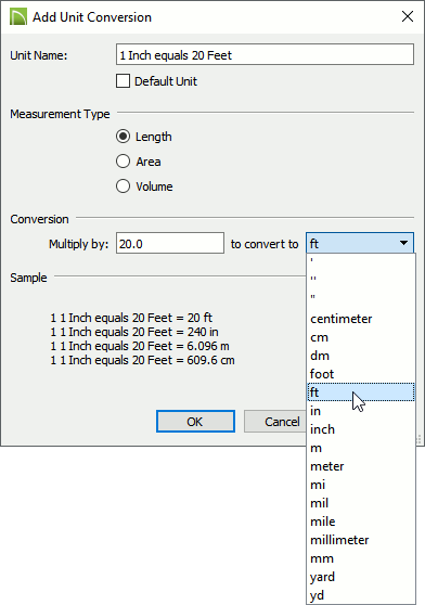 The add unit conversion dialog