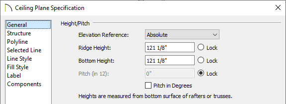 General panel of the Ceiling Plane Specification dialog