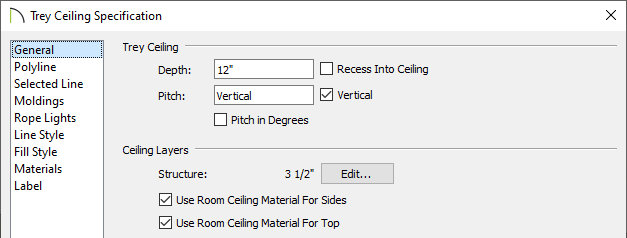 Trey Ceiling Specification dialog where trey settings can be set