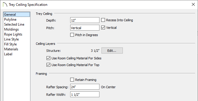 Tray Ceiling Specification dialog where tray settings can be set