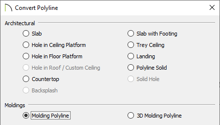 Convert Polyline dialog with the Molding Polyline option selected