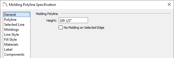 General panel of the Molding Polyline Specification dialog