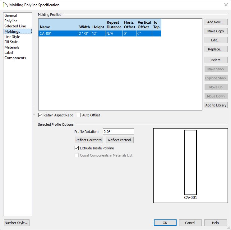 Moldings panel of the Molding Polyline Specification dialog